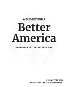 Cover of President Trump's Budget Request for FY 2020